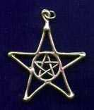 Pentacle in Pentagram 1 5/8 inches tall