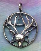 Stag Cernunnos Pentacle 1 5/8 inches tall