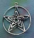 Triple Star Pentacle Pentagram 1 1/8 inches diameter