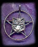 Wolf Pentacle 1 1/4 inch diameter